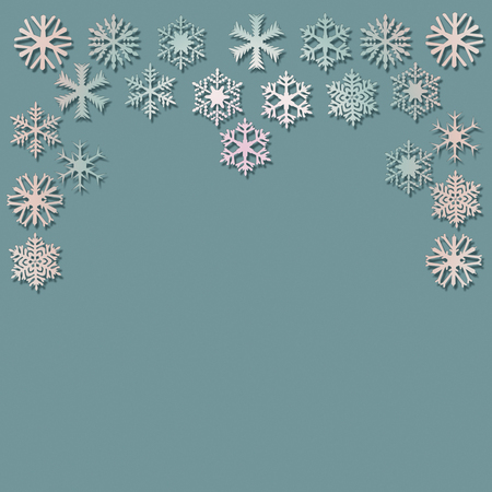 Snowflakes at the top on a turquoise background