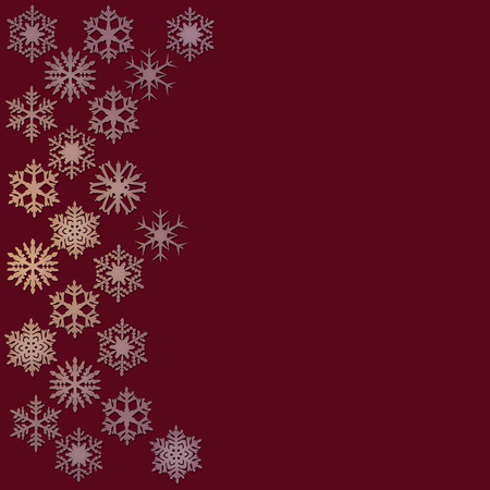 Snowflakes on a dark wine red background Banco de Imagens