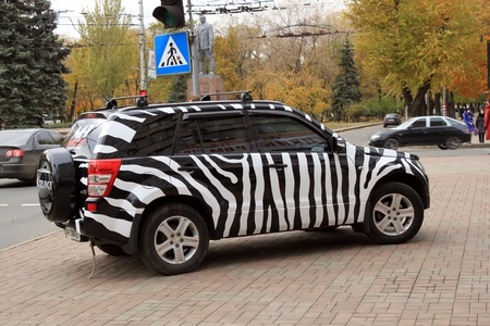 Donetsk, Ukraine - October 28, 2010. Colored zebra