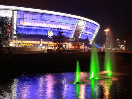 Donetsk - October 27, 2010. Donbas Arena the evening of 27 October 2010. Donbass Arena, a stadium of the famous Ukrainian soccer club Shahtar - one of the best stadiums in Eastern Europe, built in 2009 and for 50 thousand spectators. Located in the Donets