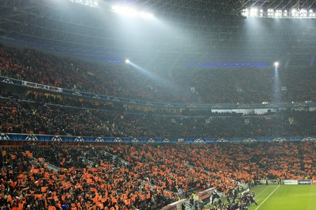 DONETSK, UKRAINE - NOVEMBER 3, 2010: Tribunes of Donbass Arena on  November 3, 2010. FC Shakhtar Donetsk vs. FC Arsenal London, defeated Shakhtar Donetsk - 2:1.