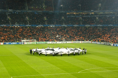 DONETSK, UKRAINE - NOVEMBER 3, 2010: The traditional start of the Champions League match in Donetsk Donbass Arena November 3, 2010. FC Shakhtar Donetsk vs. FC Arsenal London, defeated Shakhtar Donetsk - 2:1.