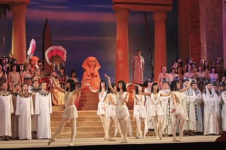 DONETSK, UKRAINE - NOVEMBER 4, 2010: Opera Aida at the scene of Donetsk Academic Opera and Ballet Theater November 4, 2010. The choir and ballet dancers