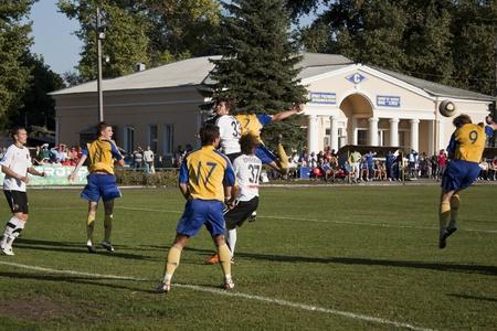 luhansk: SLOVIANSK, UKRAINE - 21 SEPTEMBER 2011: Fragment of the match of 116 Datagroup Cup of Ukraine between Slovkhlib Sloviansk vs Zoria Luhansk on 21 September 2011 in Sloviansk.