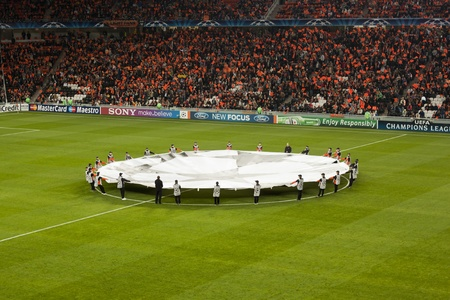DONETSK, UKRAINE - SEPTEMBER 28, 2011: The match of the Champions League FC Shakhtar Donetsk vs. FC Apoel Cyprus in Donetsk Donbass Arena on September 28, 2011. Before the start. Editorial