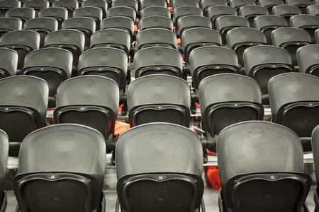 A rows black seats on the stadium