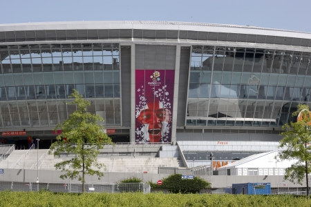 DONETSK, UKRAINE - 23 MAY 2012: Donbass Arena stadium is ready for the UEFA EURO 2012 Stock Photo - 13775593