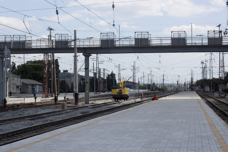 finalized: SLAVYANSK, UKRAINE - MAY 27, 2012: Finalized the railway station Slavyansk. Soon there will pass high-speed trains Donetsk-Kiev
