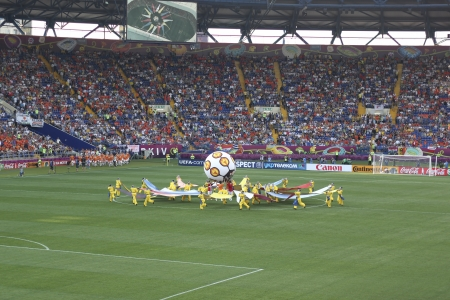 KHARKIV, UKRAINE - JUNE 9, 2012: The opening ceremony of Euro 2012 in Kharkiv before the match Netherlands vs. Denmark at Metalist Stadium on June 9, 2012.