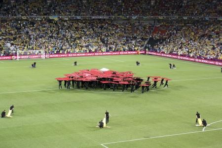 donbass: DONETSK, UKRAINE - JUNE 19, 2012: The opening ceremony of Euro 2012 in Donetsk before the match Ukraine vs. England at Donbass Arena Stadium on June 19, 2012.