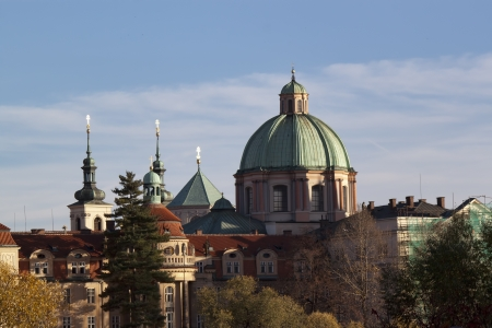 Autumn Prague. The dome of the church Stock Photo - 16419460