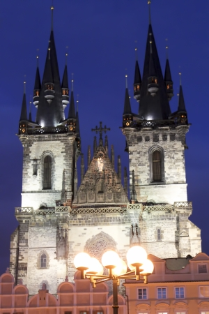Prague. Old Town Square. Church of Our Lady Before Tyn at night photo