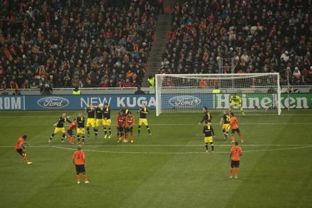 DONETSK, UKRAINE - FEBRUARY 13, 2013: Dario Srna scored a goal against Borussia Dortmund in Champions League match between Borussia Dortmund and Shakhtar Donetsk. The final score was 2 - 2