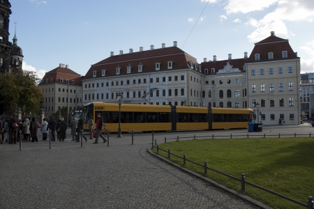 DRESDEN, GERMANY - NOVEMBER 2, 2012: In the central part of the old Dresden on November 2, 2012. There is always a lot of tourists