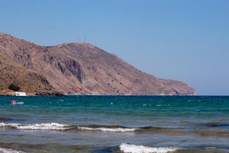 De Egeïsche Zee Uitzicht vanaf het strand van Georgioupolis, Kreta, Griekenland