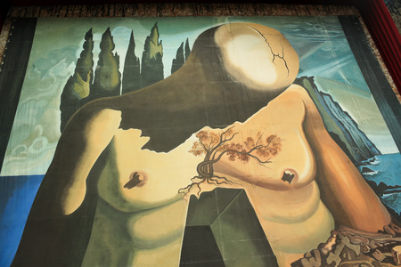 FIGUERES, SPAIN - JULY 17, 2013  Walls Salvador Dali Museum in Figueres, Spain