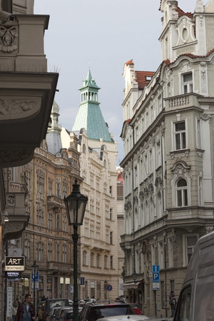 PRAGUE, CZECH REPUBLIC - NOVEMBER 4, 2012: Narrow streets of Prague in the central part of the city