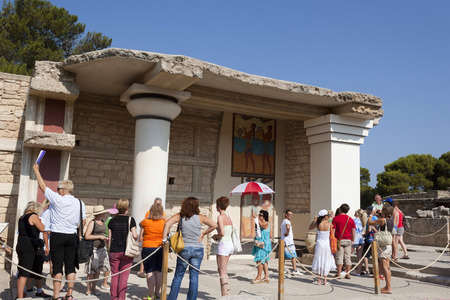 historical events: HERAKLION, CRETE, GREECE - AUGUST 1, 2013: Ruins of Knossos Palace, south of Heraklion - very popular among tourists visiting Crete