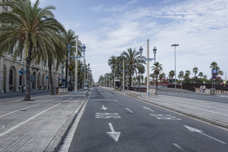 crossway: BARCELONA, SPAIN - JULY 13, 2013: Desert Columbus Avenue in Barcelona - besides a good road equipped with bike paths