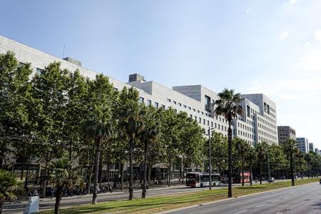 crossway: BARCELONA, SPAIN - JULY 13, 2013: Modern building on the Diagonal street in Barcelona
