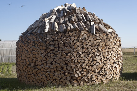 woodpile: Chopped firewood in the open air. Woodpile stacked circular manner