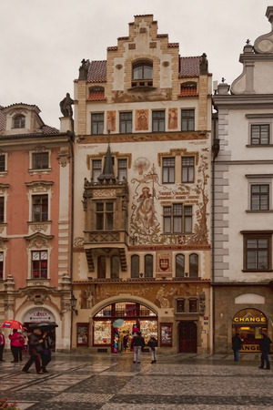 the publisher: PRAGUE, CZECH - NOVEMBER 1, 2012:  House publisher Storch architect Ohman on the Old Town Square in Prague
