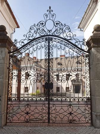 Beautiful forged metal gate in the center of Mukachevo, Ukraine