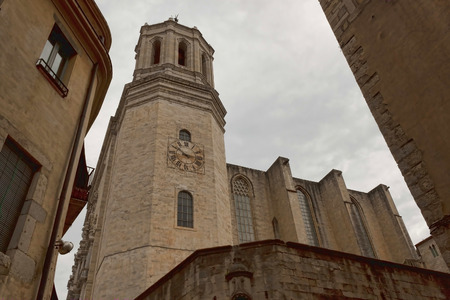 cupolas: GIRONA, SPAIN - JULY 17, 2013: Cathedral in Girona on July 17, 2013. Well preserved since the Middle Ages the historic core of the city attracts a significant number of tourists