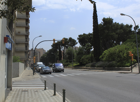 salvador dali: FIGUERAS, SPAIN - JULY 17, 2013: Streets of Figueres, near the Museum of Salvador Dali.