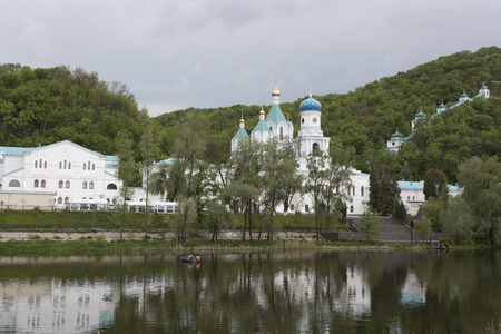 lavra: Church Svyatogorsk Lavra. Cloudy day in May