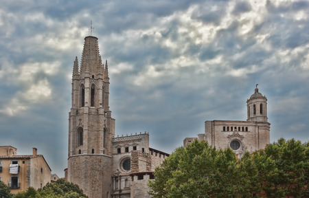hallmark: Cathedral is considered to be the hallmark of Girona. Well preserved since the Middle Ages the historic core of the city attracts a significant number of tourists Stock Photo