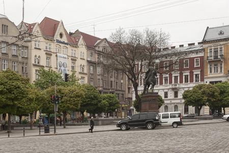 lviv: LVIV, UKRAINE - MAY 5, 2013: Monument to King Danilo in Lviv, Galicki square Editorial