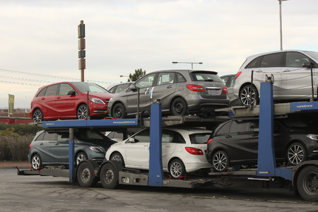 PRAGUE, CZECH REPUBLIC - NOVEMBER 2, 2012: New Cars Mercedes on a conveyance platform ready for delivery