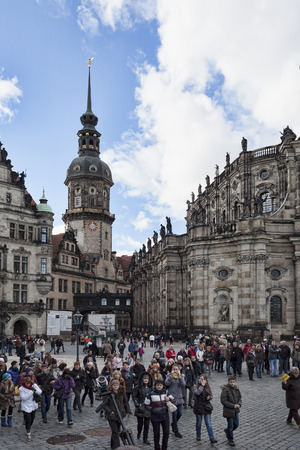 saxon: DRESDEN, GERMANY - NOVEMBER 2, 2012: The old part of Dresden is always full of tourists