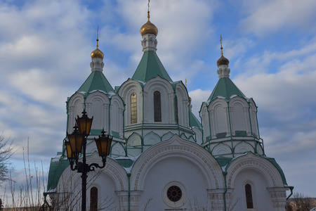 lavra: Assumption Cathedral of Sviatohirsk Lavra. Sunny day in February