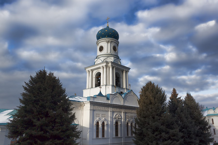 Church of the Intercession of Sviatohirsk Lavra. Sunny and cloudy day in February