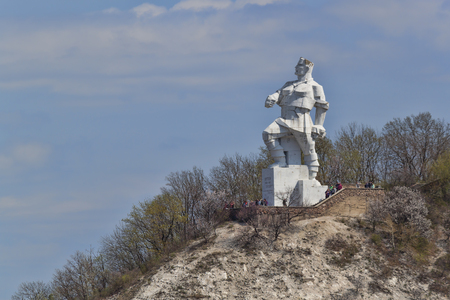 SVIATOHIRSK, UKRAINE � APRIL 16, 2017:  Monument to Artem in Svyatohirsk on April 16, 2017. Sculptor Kavaleridze. Perhaps soon to fall under the de-communization and will be demolished.
