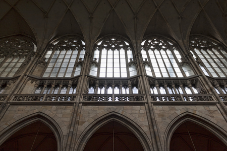 PRAGUE, CZECH REPUBLIC - NOVEMBER 3, 2012: Walls and vaults of St. Vitus Cathedral in Prague Editorial