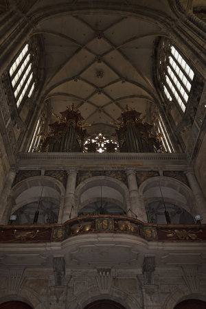 PRAGUE, CZECH REPUBLIC - NOVEMBER 3, 2012: The inner balcony with the organ in the collection of St. Vitus in Prague