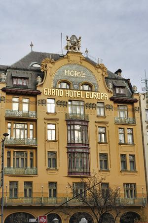 PRAGUE, CZECH REPUBLIC - NOVEMBER 5, 2012: Grand Hotel Europa. Vaclavske Square, Prague, Czech Republic