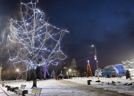 On the main square of Sloviansk on Christmas holidays