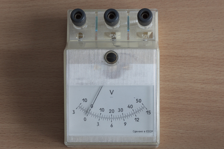 The old instrument is a voltmeter for measuring small voltages. Produced in the Soviet Union