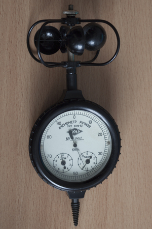 The old device is an anemometer manual for measuring wind speed. Produced in the Soviet Union Stock Photo