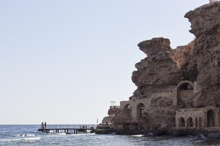 SHARM EL SHEIKH, EGYPT - FEBRUARY 1, 2018: Beach of the Dreams Beach Hotel in Sharm El Sheikh. View from the sea