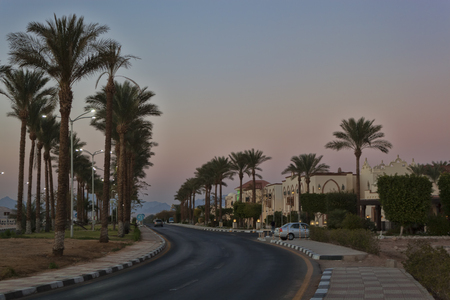 SHARM EL SHEIKH, EGYPT - JANUARY 31, 2018: Deserted roads Sharm El Sheikh - a rare phenomenon. Usually at this time the movement is lively