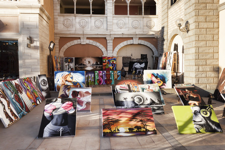 SHARM EL SHEIKH, EGYPT - JANUARY 31, 2018: Vernissage of an unknown local artist on the promenade of Il Merkato in Sharm El Sheikh