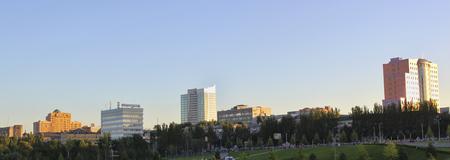 Donetsk street near the stadium Donbass Arena. Panorama