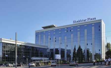 DONETSK, UKRAINE - JUNE 19, 2012: The Shakhtar Plaza Hotel in Donetsk near the Donbas Arena Editorial