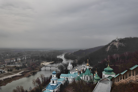Siversky Donets river and Churches of Lavra in Sviatohirsk, December. View from St. Nicolas church