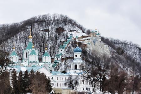 Churches Sviatohirsk Lavra. Cloudy day in March. Ukraine, Donetsk region